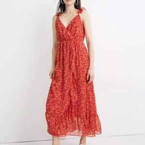 Madewell Ruffle-Strap Wrap Dress in Prairie Posies